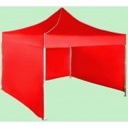 Gyorsan összecsukható sátor 3x3 m - alumínium, Piros, 3 oldalfal