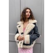 Urban Outfitters UO - Veste courte imitation peau de mouton grise- taille: XS