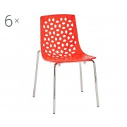 Unic Spot Sada 6 židlí Dhalia Red