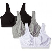 Fruit of the Loom Women's Front Close Builtup Sports Bra, Black/White/Heather Grey