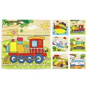 Mily 3 D Volume Wooden Puzzle Transportation Wooden Cube Block Jigsaw Puzzles Train,Rootein,Ambulance,Car,Plane,Ship