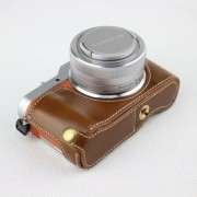 Brown - PU Leather Half Camera Case Bag Cover Protector for Panasonic GF7/GF8/GF9/GF10 Camera