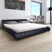vidaXL Pat cu saltea, piele artificială, 140 x 200 cm, negru