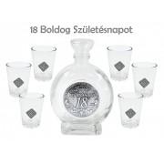 Óncímkés Pálinkás készlet 6db pohár 0,5l palack 18. Boldog Születésnapot fémcímkés - Óncímkés Pálinkás készlet