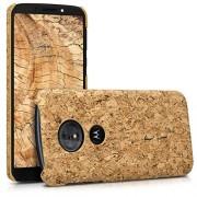 kwmobile Funda para Motorola Moto G6 Play Carcasa protectora de corcho para teléfono móvil Cover trasero rígido y resistente