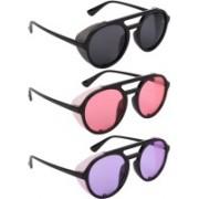 NuVew Round, Shield Sunglasses(Black, Pink, Violet)