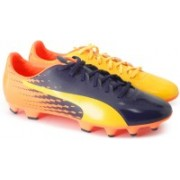 Puma evoSPEED 17.2 FG Football Shoes(Black, Yellow, Orange)