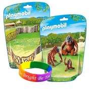 Playmobil 2 in 1 Zoo Keeper Kit with Orangutan Family and Enclosure Building Set with FREE Dimple Bracelet!