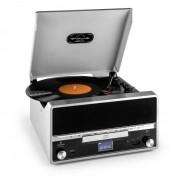 Auna RTT 1922 Cadena estéreo retro MP3 CD USB FM AUX función grabación plateada (MG-RTT-1922-S)