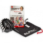 Alpine Muffy Gyermek hallásvédő fültok húzózsinórós táskával - fekete