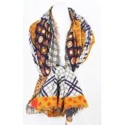 Wollen sjaal van Erfurt in paars en saffraan