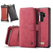 CASEME for Samsung Galaxy S9 Plus G965 2-in-1 Detachable Split Leather Wallet Phone Casing with Retail Package - Red