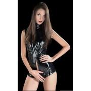 Corinne Body nero lucido in PVC con zip - Taglia unica