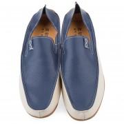 Oversize Vent Holes Slip On Hombres Casual Zapatos De Cuero-Azul-46