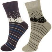 Neska Moda Premium 2 Pair Men Terry Cotton Ankle Length Exclusive Thick Socks Blue Grey S370