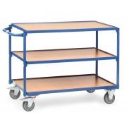 Fetra Tischwagen mit Holzwerkstoffplatten 3 Etagen mit rechteckige Ladeflächen 1000x600mm Ladefläche