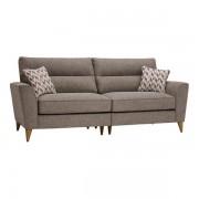 Oak Furnitureland Beige Fabric Sofas - 4 Seater Split Sofa - Jensen Range - Oak Furnitureland