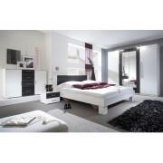 Smartshop WILDER ložnice s postelí 180x200 cm, bílá/ořech černý