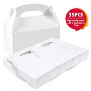 VGOODALL Caja de regalo de papel de color blanco de 35 unidades, caja de regalo para caramelos, tartas, cumpleaños, fiestas, bodas, regalos