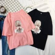 Womens Casual Été T-shirt À Manches Courtes Imprimé Tops Tee Loose Col O