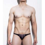 Mategear Kum Ja Stripe Translucent Fabric Overlay Mini Bikini Swimwear Black/Red 1081202