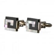 Mancuernas de acero blanco con forma de letra J para hombre - plata + negro (par)