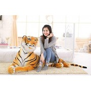 White Star All™ Eco Friendly Original Looking Premium Material Quality Soft Toy Tiger Lion Deer Wild Animal Organic Stuffed Animals Toys for Kids (King Size, Tiger)