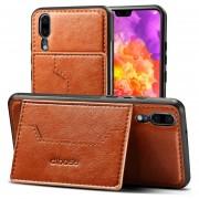 Para Huawei P20 Caballo Loco Textura Protectora Caso, Dibase Para Huawei P20 TPU + PC + PU De Caballo Loco Textura De Proteccion Con Soporte Y Ranuras De Tarjeta (Brown)