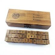 Romantic Design Capital Letters Numbers Retro Vintage Wooden Craft Box Alphabet Stamp Rubber Stamp Set 42 pcs/Set