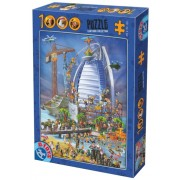 Puzzle D-Toys - Cartoon Collection - Burj Al Arab, 1.000 piese (Dtoys-61218-CC12-(74690))