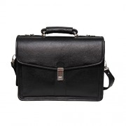 Comfort 16 inch Black Pure Leather Laptop Shoulder Bags for Mens and Women EL360