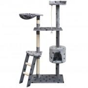 vidaXL Arbre à chat et griffoir Sisal 150 cm Empreintes de pattes Gris
