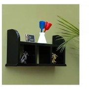 Onlineshoppee Beautiful Black Wooden Wall Shelves/Rack Size LxBxH-18x5x9.5 Inch