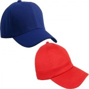 Sunshopping men's solid royal blue and red pure cotton baseball cap (pack of two)