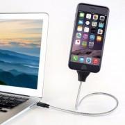 Shopido USB-kabel i böjbar metall 60cm (Apple/MicroUSB/USB-C) (Färg: Silver, Märke: USB-C 60cm)