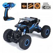 EMOB 2.4G 4CH 4 Wheel Drive Rock Crawlers 4x4 Monster Driving Truck Double Motors Drive Off-Road Remote Control Climbing Rock Crawler Car (Blue)