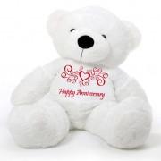 White 5 feet Big Teddy Bear wearing a Happy Anniversary T-shirt