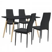 PremiumXL - [en.casa] Design blagovaonski set - stol (tamno sivi,120x70cm) sa 4 stolice (tamno sive)