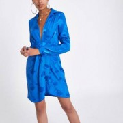 River Island Womens Blue plunge long sleeve shirt dress - Size 40 (EU)
