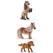 Schleich Mini Shetty Set of 3 13775, 13776, 13777 Stallion, Mare and Foal in Clear Bag with Shiny Tie Ready to Give Realistic Farm Life