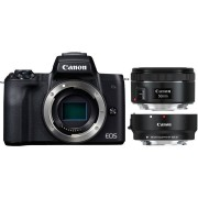 Canon EOS M50 + EF-M 15-45mm + EF 50mm + Adapter - Zwart