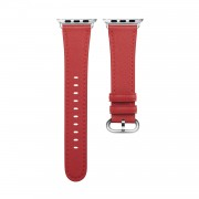 Genuine Leather Smart Watch Replacement Band for Apple Watch Series 5/4 44mm /Series 3/2/1 42mm - Red