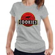 Cloud City 7 Cookie Monster Jurassic Park Sesame Street Women's T-Shirt Heather Grey Large