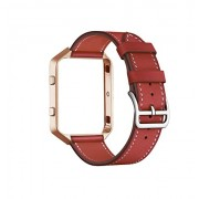 for Fitbit Blaze Band with Frame, CAILIN Genuine Leather Replacement Band with Vintage goldMetal Frame (red, M)