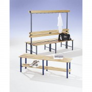 Garderobenbank mit Hakenleiste und Holzleisten mit Schuhrost, beidseitig, Länge 1500 mm, 16 Haken Gestell kobaltblau