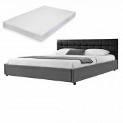 MyBed Cama tapizada + colchón 140x200cm negro/gris cuero sintético + Textil - Castrillo de Onielo