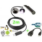 NTR ECAM03 Vízálló endoszkóp kamera 640x480 7mm átmérő 6LED USB/microUSB 2m