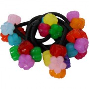 Adbeni Colourful Flower Black Nylon Coated Hair Rubber Bands Good Choice