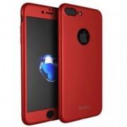 Husa Full Cover 360 fata + spate + geam sticla IPAKY pentru Apple iPhone 7 Plus rosu