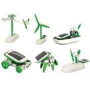 Emob Educational 6 in 1 Solar Power Energy Robot Toy Kit, White/Green